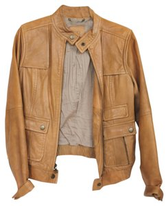 J.Crew Leather Motorcycle Tan/Beige Leather Jacket