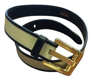 Escada ESCADA/Made in Italy Leather two-tone belt with embossed ESCADA monogram on belt buckle, as well as the inside of belt. Style#317-2180.