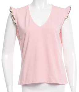 Burberry Sleeveless Ruffle V-neck T Shirt Pink, Beige