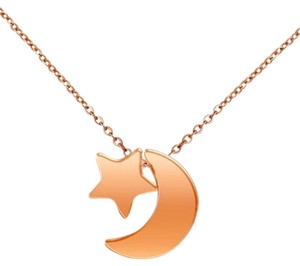 Rose Gold Filled Moon & Star Necklace Free Shipping