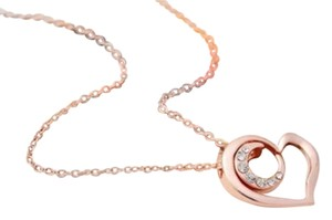 Crystal Heart Rose Gold Filled Necklace Free Shipping