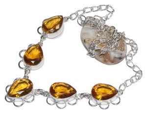Sterling Plated Citrine Gemstone Necklace Free Shipping