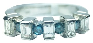 Other 18K Baguette and Round Blue Diamond Band in White Gold