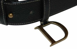 Dior CHRISTIAN DIOR 12 BLACK LEATHER GOLD TONE D CHARM DIOR BELT SZ 85 /LENGTH 36.5