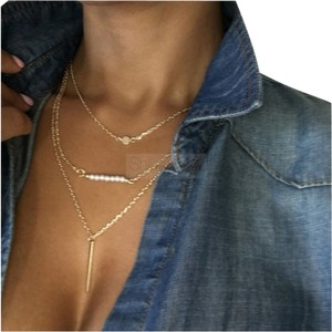 Multi-chain layered bar necklace
