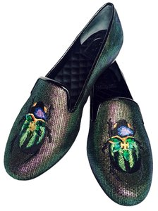 Tory Burch Slipper Smoking Slippers Leather Shimmery Embroidered Beetle Design Round Toe Quilted Lining Satin Lining New Metallic Green/Black Flats