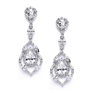 Silver/Rhodium Glamorous Brilliant Crystal Couture Earrings