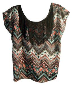 Solemio Fringe Top black multi