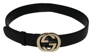Gucci GUCCI BLACK EMBOSSED BELT