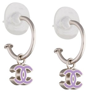 Chanel Silver-tone Chanel purple interlocking CC logo hoop earrings