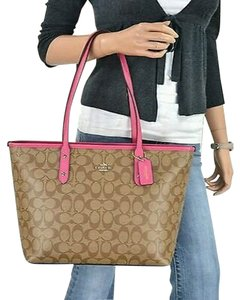 Coach City Tote in Khaki & bright pink