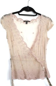 Elie Tahari Short Sleeve Summer Top Pale Pink