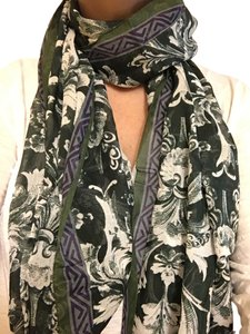 Epice Epice Cotton Voile Summer Scarf in Leaf Print
