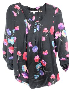 Rebecca Taylor Silk Long Sleeve Top Black with Floral Print
