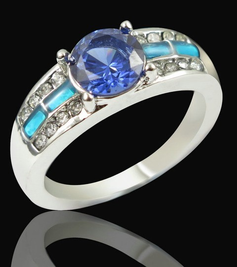 Multi Color Bogo Free Blue Fire Opal Fashion Free Shipping Ring Image 3