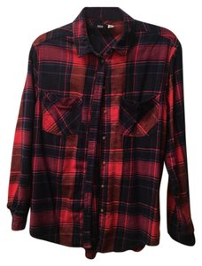 Urban Outfitters Flannel Button Down Shirt Red/Navy Blue