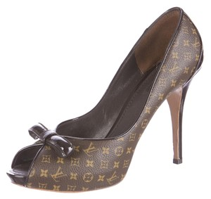 Louis Vuitton Lv Monogram Peep Toe Logo Platform Leather Brown, Beige Pumps