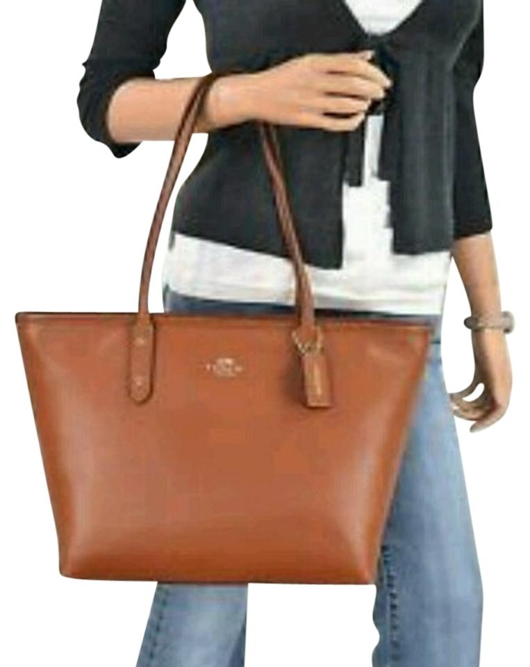 1b337207a092 Coach City Zip Top Saddle Crossgrain Leather Tote - Tradesy