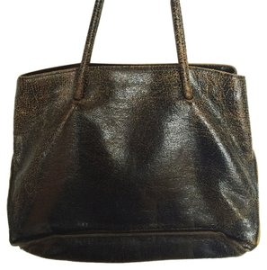 Miu Miu Leather Cracked Leather Tote in Black