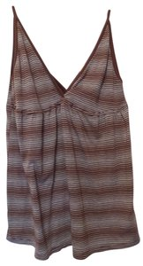 Ella Moss Anthropologie A-line Knit Supima Cotton Tank Top Brown and grey