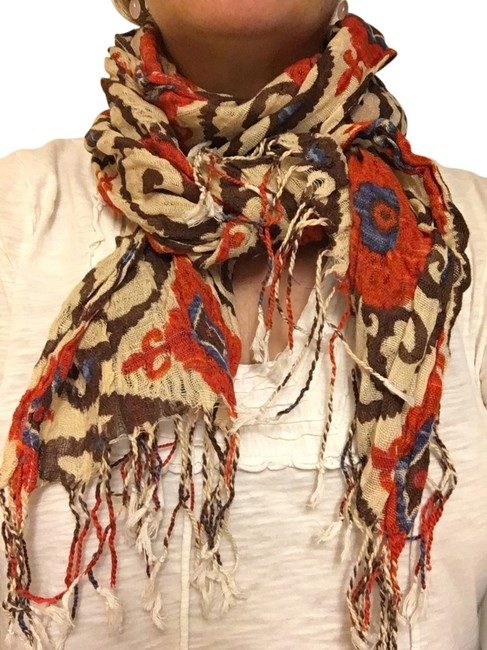 Item - Brown Print Canvas Linen and Cotton Summer In Cool Suzani Pattern Scarf/Wrap