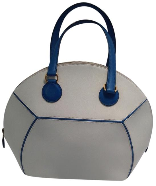 Item - De Shiki with Gold Toned Hardware White and Blue Leather Satchel