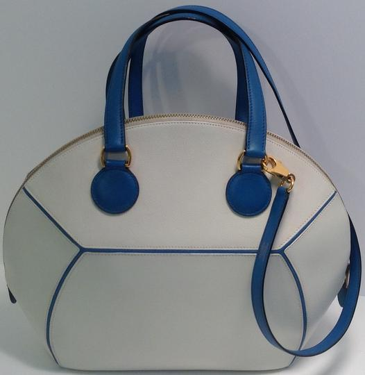 Hermès Vintage Rare Satchel in White and Blue Image 2