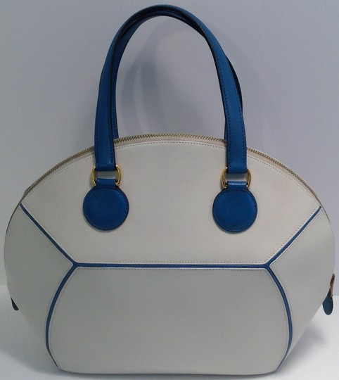 Hermès Vintage Rare Satchel in White and Blue Image 7