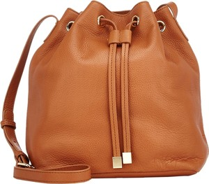 Barneys New York Mini Bucket Cognac Leather Shoulder Bag