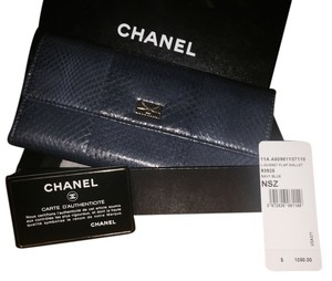 Chanel Chanel Navy Blue Snakeskin L-Gusset Flap Wallet **NWT**