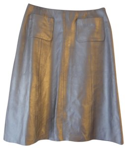 Chanel Leather Skirt Silver