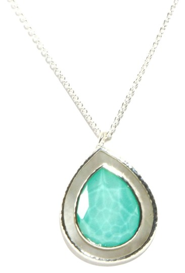 Ippolita IPPOLITA STERLING SILVER TURQUOISE DOUBLET AND MOTHER OF PEARL LARGE POLISHED ROCK CANDY TEARDROP PENDANT NECKLACE