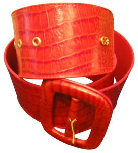 Escada ESCADA RED ALLIGATOR LARGE BUCKLE BELT