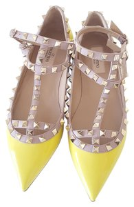 Valentino Rockstud Leather Patent Leather yellow Flats