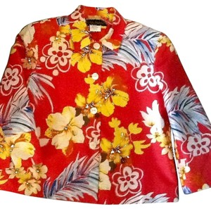 Harvé Benard Tropical Red floral Jacket