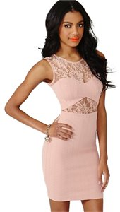 Nasty Gal Cut-out Sheer Lace Textured Bodycon Dress