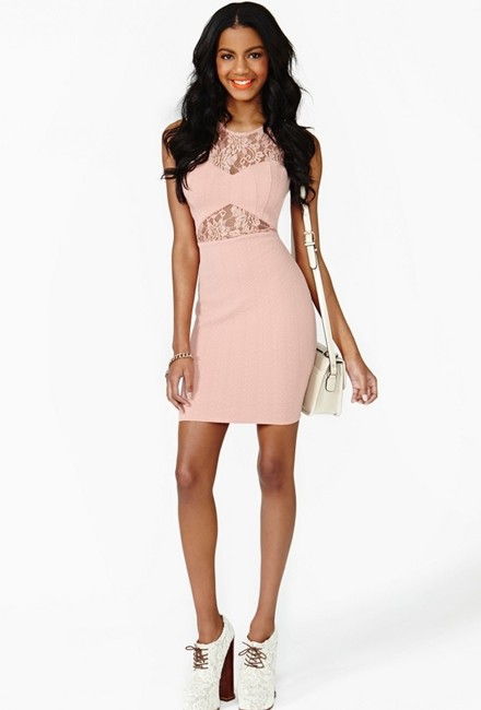 Nasty Gal Cut-out Sheer Lace Textured Bodycon Dress Image 2