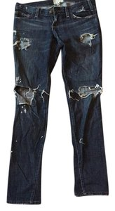 Current/Elliott Destroyed Factory Distressed Dark Wash Boyfriend Jeans Straight Pants denim
