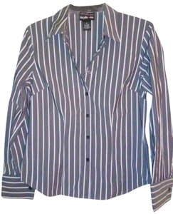 Style & Co Striped Button Down Shirt Grey White