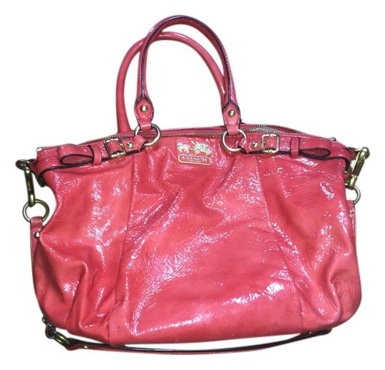 Coach Patent Leather Summer Satchel in Coral