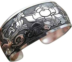 Other Silver Cuff Bracelet with birds and flowers