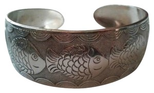 Silver Cuff Bracelet with fish design