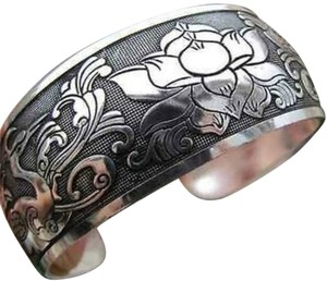 Silver Cuff Bracelet with birds and flowers