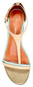 Rebecca Minkoff Low Leather Tan Chunky Teal Nude Gold Sandals
