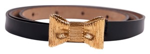 Kate Spade KATE SPADE Black Leather Belt With Gold Bow