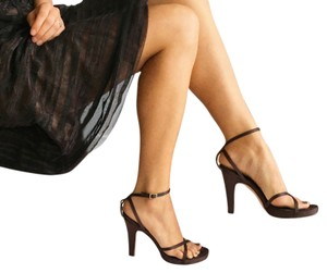 BCBGMAXAZRIA Satin Ankle Strap Leather Brown Formal