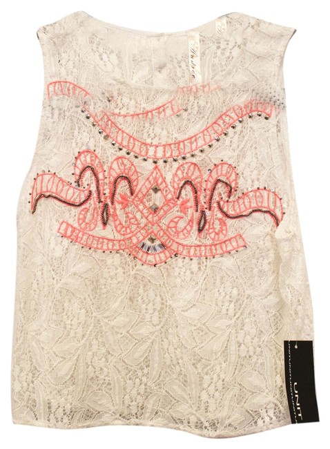 Item - Lace with Pink Embroider Sleeveles Blouse Size 4 (S)