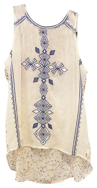 Item - Embroidered and Print *must See Back* Sleeveless Sheer Blouse Size 4 (S)