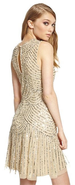 Item - Gold/Champagne Vintage/Retro/20s Above Knee Night Out Dress Size 8 (M)