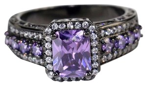Other New Purple Topaz Black Gold Filled Engagement/Wedding Ring SZ 8